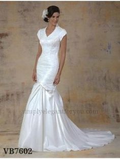 #modest wedding dress   Only $450   #lace and charmeuse   Simply Elegant   Fort Mill SC   simplyelegantforyou.com