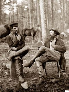 Men Smoking Pipes Here we present an historic image of Brandy Station, Virginia. Discussing the probilities (?) of the next move. It was taken in 1864.
