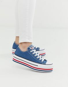 converse chuck taylor all star platform layer blue trainers at ASOS. Purple Sneakers, Cute Sneakers, Converse Sneakers, Sneakers Fashion, Converse Shop, Converse Style, Converse Chuck Taylor All Star, Converse All Star, Asos