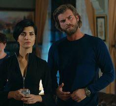 Tuba Buyukustun and Kivanc Tatlitug in Cesur ve Guzel. Turkish TV series 2016-2017.