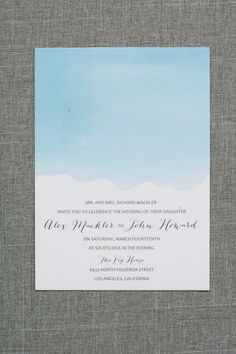 Watercolor Wedding Invitation Sky Blue Dipped Ombre Invite    Custom Wedding Invitations    Invited by LamaWorks  every invitation deserves to be custom
