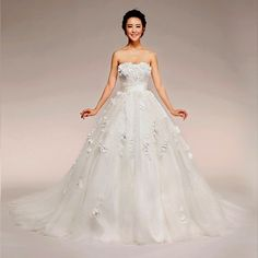 Beautiful White Lace Couture Strapless Bridal Wedding Ball Gowns Dresses
