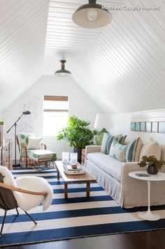 Attic Den Living Family Room MidCenturyModern Contemporary American Shingle Style Cottage Modern Eclectic Coastal Transitional Farmhouse by Matthew Caughy Modern Farmhouse Living Room Decor, Coastal Living Rooms, Cottage Living, Farmhouse Style, Farmhouse Remodel, Coastal Farmhouse, Cottage House, Coastal Cottage, Living Spaces