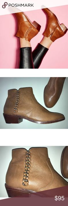 Coach Corine Ankle Boots Booties Camel Chain 7 New, light imperfections from store - COACH Corine Booties - Women's casual chic ankle boots - Camel brown/tan genuine leather, leather soles - Metallic gold chain, zips up side - Size 7 Coach Shoes Ankle Boots & Booties