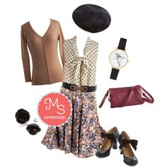 In this outfit: Fancy Freelance Skirt, South Florida Spree Top in Dotted Ink, Charter School Cardigan in Camel,  Boldly Buckled Belt in Black, Dapper Details Hat in Black, Humming Home Watch, Believe in Mulberry Bag, Retro Rosie Earrings in Black, Saturday Strut Heel in Black #skirt #beret #floral #polkadots #workappropriate #feminine