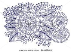 Floral design elements. Doodle flowers. Zentangle pattern