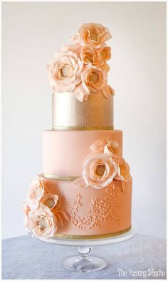 Peach perfection in this gorgeous wedding cake Featured Cake: The Pastry Studio; Wedding cake idea.
