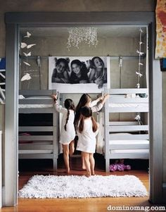 A bunk room, in this case, for 3 sisters who all wanted to sleep in the same bedroom.Love the larger than life photo, on the wall, of the 3 girls!  Bunkroom could be used for so many other sceanarios. Great for vacation sleeping arragements when all the kid cousins want to sleep all together.