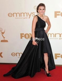 Black Celebrity Dresses One Shoulder New Aimee Teegarden Emmy Red Carpet Evening Dresses 2017 Party Gowns Custom