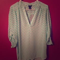 ✨Chevron Top✨ Adorable chevron top from Rue 21. Size large. In great condition. No stains or tears. Smoke free home. Make me an offer!!! Rue 21 Tops
