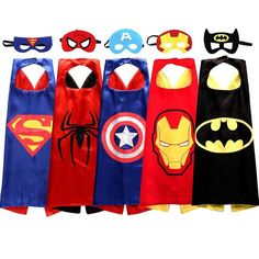 One packge get 5 superheros costumes - capes and masks of Spiderman, Batman, Superman, Captain America and Ironman Durable double-sided satin capes with easy velcro fastener Capes are approximately 26 Superhero Costumes Kids, Superhero Party Favors, Superhero Kids, Superhero Dress, Superhero Party Costume, Superman Birthday Party, Avengers Birthday, Batman Party, Avenger Party