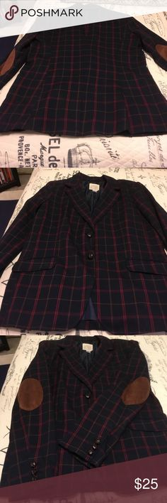 Lovely navy blazer Like new women's blazer. Navy with red and dark gold striping. Looks great with jeans and riding boots. Lightweight. Canyon River Blues from JC Penneys Jackets & Coats Blazers