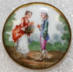 ca 1785 French painted porcelain courting scene button.