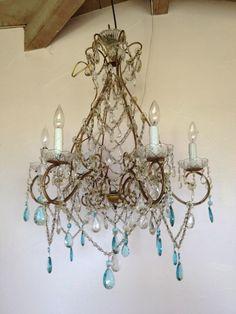 Italian chandelier with aqua prisms
