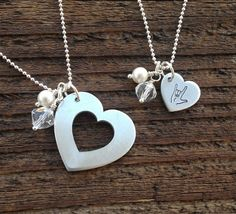 """Mother Daughter Necklace Set Heart and Hand Stamped ASL """"I Love You"""""""