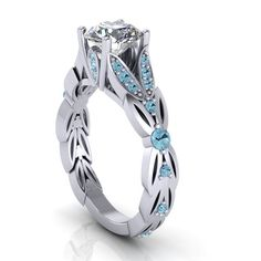 aquamarine white gold ring with c.z. center. by EternityCollection, $675.00