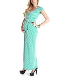 We'd like to think there's a stripe on this dress for each month that it flatters and comforts a changing body. Of course, that leaves plenty of extra stripes for post-pregnancy! And, an adjustable chain belt puts a glam note on this sweet maxi. White Maternity Maxi Dress, Pink Blush Maternity, Cheap Maternity Clothes, Wrap Dress, Dress Up, Post Pregnancy, Just In Case, Blush Pink, Aqua