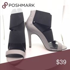 """Sole Society Elastic Strap Heels Adorable shoes! Straps are made of thick elastic straps, zipper in the back for easy wear. Rise is 3"""" above ankle. Still very well kept on the inside, some wear on the bottom. Worn 3 times total! Heel is 4"""" high. Sole Society Shoes Heels"""