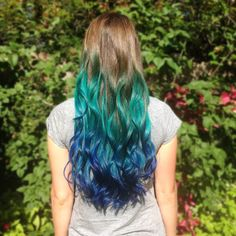 My current hair as of yesterday! Pic is NOT edited, it really is this bright in the sunlight! Teal Ombre and Dark Blue Ombre. Had it done by Samantha Springer at Fringe Hair Studio in La Crescenta. Can't wait to braid it! - Sam