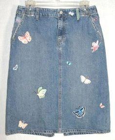 GAP sz 8 womens blue jean DENIM skirt BUTTERFLIES EMBROIDERY SEQUINS