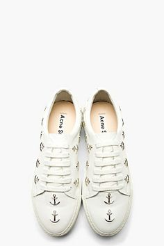ACNE STUDIOS White leather ADRIANA Anchor STUD Sneakers