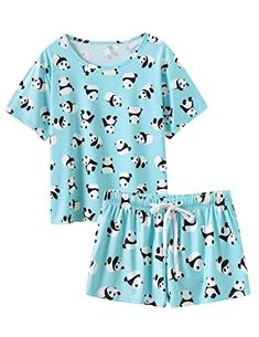 Stay comfortable as you sleep or lounge in this panda-themed pajama set, boasting a short sleeve tee and matching shorts, designed with an elastic waist. Cute Pajama Sets, Cute Pjs, Cute Pajamas, Pajamas Women, Teen Fashion Outfits, Girl Outfits, Teenager Outfits, Cute Sleepwear, Cute Lazy Outfits