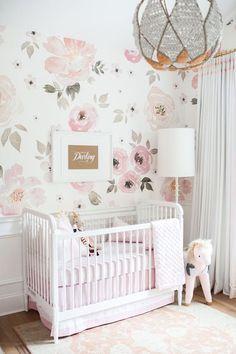 Image result for pink floral wallpaper nursery