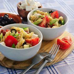 Griekse pastasalade.
