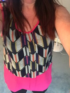 Pixley Palacio Abstract Print Color Block Tank  I love the graphic print and the pop of a bright color on this tank.