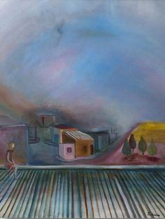 """Prudencio Hernandez -Paint Artist - Cityscapes-   """"Niño en el tejado""""-Oil on canvas-100 x 70 cm.-2009"""
