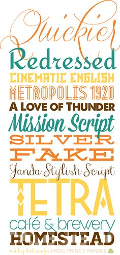 A tiny bit of typography: #free fall #fonts | Quickier, Redressed, Cinematic English, Metropolis, A Love of Thunder, Mission Script, Silverfake, Janda Stylish Script, Tetra, Café brewery, Homestead