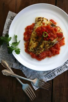 Curry Spiced Barramundi with Fire Roasted Tomato Ginger Sauce Recipe
