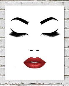 Make- up Logo Lashes print Lips print Lashes Makeup Digital Printable Lips painting Eyelashes print Minimalist print Fashion poster Red lips print - Painting Ideas Lips Painting, Painting Walls, Painting Art, Mode Poster, Red Lipstick Makeup, Pink Lips, Face Art, Fashion Prints, Fashion Posters