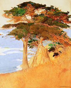 Cypress Trees, Carmel Coast by Lucia K. Mathews, 1936