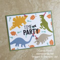 stampcandy.net, Stampin' Up!, No Bones About It stamp set, Confetti Celebration stamp set, Pearl Basic Jewels, pearls, Marina Mist, Old Olive, Crumb Cake, Crushed Curry, Pumpkin Pie, Real Red, Bermuda Bay, Whisper White, Dino party card, dinosaur, dinosaurs, Rimt To Party, child kids birthday party invitation, DIY, handmade card, card making, papercrafting