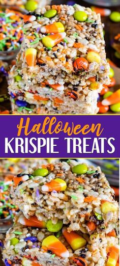 Anyone can make Halloween Rice Krispie Treats! These easy cereal treats are full of candy corn and Halloween sprinkles and candy. My recipe makes extra thick rice crispy treats! Everyone loves how fun these are for Halloween. for kids Halloween Desserts, Halloween Rice Crispy Treats, Halloween Rice Krispies, Pumpkin Rice Krispie Treats, Hallowen Food, Dulces Halloween, Halloween Treats For Kids, Halloween Candy, Halloween Cookies