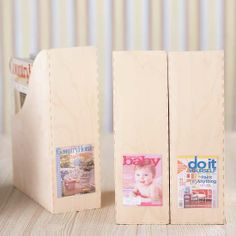 Magazine labels - Magazine labels can be hard to read when they're all stacked together on a shelf. Try sorting them into separate file boxes and attach a photo of the magazine cover to the outside for easy reference.