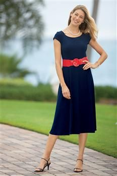Belted Navy Dress by Connected Apparel | Chadwicks