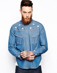 Levis Vintage Clothing Denim Shirt 1950 Western Star Embroidery
