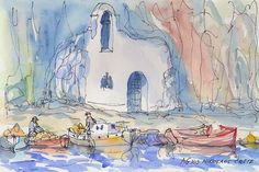 Titel: Crete Agios Nikolaos  This is an archival quality  print of my original pen and watercolor painting. Printed on high quality archival paper…