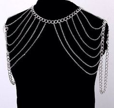 SHOULDER CHAIN DOUBLE BODY HARNESS STATEMENT JEWELRY SILVER AVANT GARDE LAYERED  @meow126