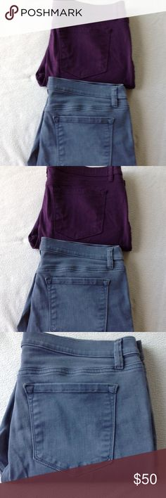2 pair Super Skinny  Colored Jeans 5 pockets, belt loops, super skinny, waist measures approx 18 1/2 across laying flat, 28 inch inseam, excellent condition LOFT OUTLET Jeans Skinny