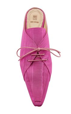 Rosie Assoulin | Spectator Slide in fuchsia silk moire, featuring an almond toe, a lace-up front with round tonal laces, backless slip-on styling, and a low stacked kitten heel | from ModaOperandi.com (no longer available as of May 2018)