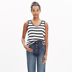 A just-a-bit-cropped tank with a bit of texture and a cool mix of stripes. Pairs perfectly with a high-waisted skirt or jeans. <ul><li>Cotton.</li><li>Machine wash.</li><li>Import.</li></ul>