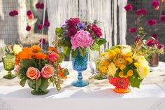 Our colorful compotes as seen on Ruffled.... http://www.ruffledblog.com/cinco-de-mayo-wedding-inspiration/    #colorful wedding flowers