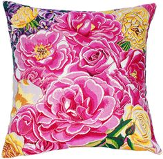 Tapestry Cushion Covers - Roseraie is a French woven jacquard tapestry cushion cover. This brilliant floral design brings a burst of vivid color to your home. Pink and White roses fill t