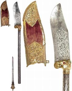 Indian bhuj, likely originated in Bhuj, a city in the Kutch district of Gujerat, broad lightly recurved blade with substantial back edge, finely inlaid with silver vinework en suite with the steel haft, gilded copper mounts, including a bolster in the form of a fully-modeled elephant's head set with four gems, and an urn-shaped pommel which unscrews to reveal a concealed dagger, velvet covered scabbard with embossed and engraved gilt copper.19th century, length 53.4 cm.