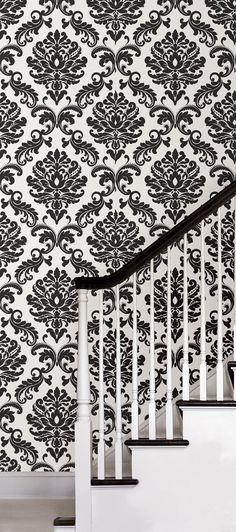 Ariel Black and White Damask Peel And Stick Wallpaper - Wallpaper Borders - Amazon.com