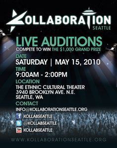 Audition for Kollaboration Seattle's inaugural show!!