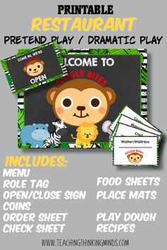 This is the ULTIMATE Restaurant pretend play bundle! Lunch Box Notes, Educational Activities For Kids, Gross Motor Skills, Ocean Themes, Dramatic Play, Emotional Intelligence, Pretend Play, Critical Thinking, Board Games